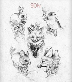 Fox tattoo mouse bunny bird, The Effective Pictures We Offer You About little Birds A quality picture can tell you many things. Mädchen Tattoo, Tattoo Drawings, Tattoo Sketches, Deer Tattoo, Raven Tattoo, Sad Drawings, Black Tattoos, Small Tattoos, Hase Tattoos