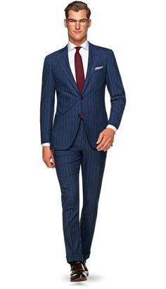 Suit Blue Stripe Jort P5377 | Suitsupply Online Store
