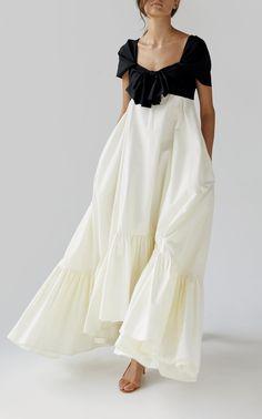 Dasy Colorblocked Asymmetrical A-Line Dress by ANNA OCTOBER for Preorder on Moda Operandi White Fashion, Look Fashion, Womens Fashion, Fashion Design, Fashion Tips, Evening Dresses, Summer Dresses, Minimalist Fashion, Dress Up