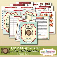 Charades For Family Fun: Let's Eat theme (includes 10 printable games, score card, fun snack ideas and more!)