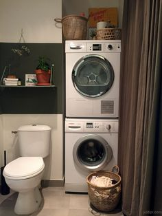 Furnish a Green Spirit laundry room - Bathroom 02 Laundry Room Bathroom, Laundry Room Storage, Bathroom Toilets, Laundry Room Design, Stackable Washer And Dryer, Stacked Washer Dryer, Wc Decoration, Laundry Dryer, Sweet Home