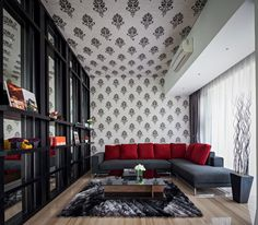 House in Jakarta by DP+HS Architects Interior Design Glass Floor, Modern Lounge, Ceiling Design, Modern House Design, Living Room Interior, Cozy House, Modern Interior, Decoration, Living Room Designs