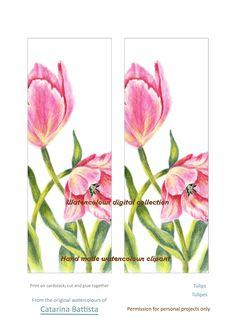 SIGNET NUMÉRIQUE TULIPS. (Marque-Pages Tulipes). Papier numérique. Imprimable, Papier artisanal, Ephemera, Shabby Chic, Collage, Découplage, Scrapbook