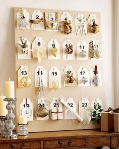 Under The Table and Dreaming: Pottery Barn Inspired Framed Christmas Ornament Advent Countdown Calendar