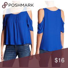 "LUSH royal blue cold shoulder top LUSH royal blue cold shoulder top. 100% polyester. From shoulder to hem approx. 25"". Armpit to armpit 22"". Lush Tops"