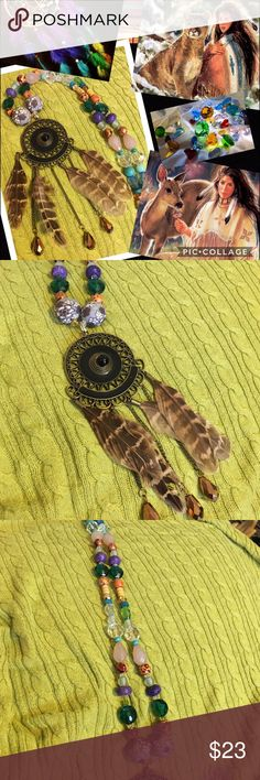 One of a Kind Dreamcatcher Necklace NWOT Beautiful Native American style dreamcatcher is bronzetone with feathers and beads. Necklace is a collection of crystal beads, wood design beads all blending perfectly together Jewelry Necklaces