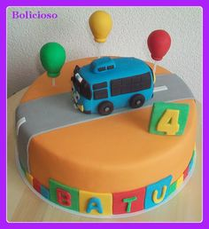 Tayo the little bus Gifts For Campers, Camping Gifts, Bus Cake, Tayo The Little Bus, Monster Truck Party, Birthday Parties, 3rd Birthday, Birthday Cakes, Birthday Ideas