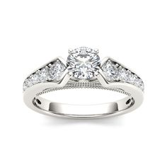 De Couer 14k White Gold 1 1/3ct TDW Diamond Classic Engagement Ring (H-I, I2) (Size-7.25), Women's, Size: 7.25, White H-I