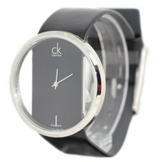 Relógio Calvin Klein Quartz, Genuine Black Leather Strap with Crystal Clear Dial - Women's Watch K9423107 #relogio #calvinKlein