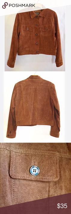 Vintage 90s Brown Leather Button Down Jacket Vintage 90's Brown Leather Jacket brandon thomas Jackets & Coats Utility Jackets