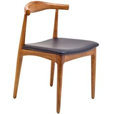 Hans Wegner Style Elbow Dining Side Chair with Faux Leather Seat 559-BLK by LexMod