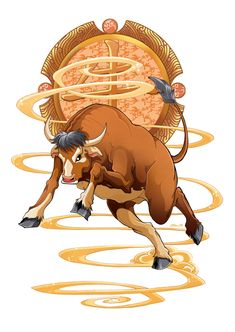 Le petit Monde de Miss-M: Si vous êtes bœuf ! Art Zodiaque, Year Of The Cow, Cow Illustration, Classical Elements, Chinese Zodiac Signs, Galo, Zodiac Art, Art Plastique, Chinese Art