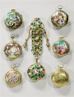 a gold watch and chatelaine covered in roses, Paris, 1750-1752