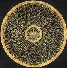 Goddes Green Tara Mandala with Syllable Mantra, Tibetan Thangka Painting