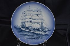"Royal Copenhagen Denmark ""The Training Ship"" Skoleskibet Plate Vintage Item #2632 by BigBlossomAntiques on Etsy"