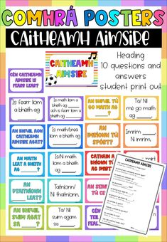 Caitheamh Aimsire - Comhrá Pack - 20 posters, reference sheet and worksheet Primary Teaching, Primary Education, Primary School, Teaching Resources, Classroom Posters, School Classroom, Classroom Activities, Classroom Decor, Gaelic Irish