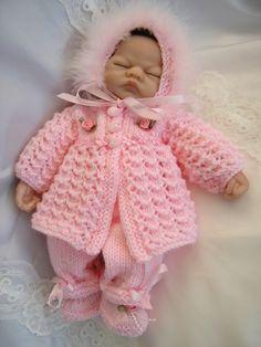 1 of Creative Dolls Designs Knitting Pattern Matinee Set For 10 Doll Prem Baby 1 of Creative Dolls Designs Knitting Pattern Matinee Set For 10 Baby Doll Clothes, Knitted Baby Clothes, Doll Clothes Patterns, Baby Knitting Patterns, Baby Patterns, Diy Crafts Knitting, Knit Baby Sweaters, Baby Set, Premature Baby