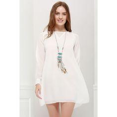 Slim Fit Scoop Neck Simple Long Sleeves Chiffon Women's Dress #jewelry, #women, #men, #hats, #watches, #belts, #fashion