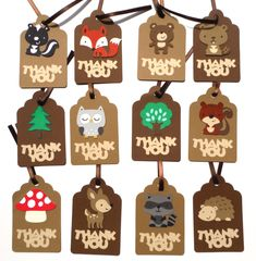 Woodland Animal Thank you Tags Personalized Natural Colored Theme Birthday Party Decoration by ScrapsToRemember on Etsy https://www.etsy.com/listing/190764035/woodland-animal-thank-you-tags