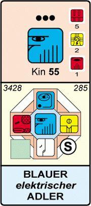KIN 55 - Blauer Elektrischer Adler- Energiekalender n. Kössner - Herzensleben
