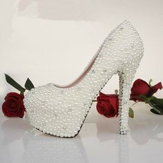 Custom Bling Heels Wedding Shoes Pearl wedding Shoes bling wedding shoes white and Ivory color available on Etsy, $169.00