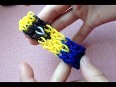 ▶ How to make a Minion rainbow loom bracelet - Tutorial / Pattern - Part 1 - YouTube *note: too patchy, maybe double bands?*