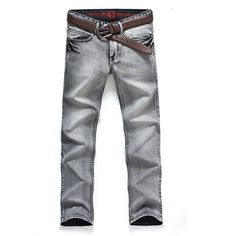 59478731bfe8 Men Slim Fit Casual Denim Off White Jeans Trousers Large Size