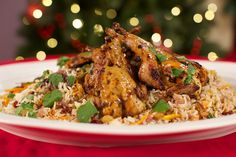 Marinated quail on jewelled rice