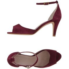 Ancarani Sandals ($180) ❤ liked on Polyvore featuring shoes, sandals, deep purple, ankle tie shoes, round cap, buckle sandals, leather sole sandals and ankle wrap sandals