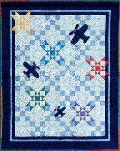 """""""Star Light Quilt Pattern Size: 46\"""" x 58\"""" This quilt is great for a boy or girl. Consists of a 9-Patch, Churn Dash and Star block. I have given easy instructions so you only work with squares and you never have to sew any triangles together. The border looks harder then it is. It is very simple and actually adds a great touch to impress your friends. My instructions give lots of pictures."""" Baby Boy Quilt Patterns, Baby Boy Quilts, Crochet Patterns, Airplane Quilt, Quilting Projects, Quilting Ideas, Sewing Projects, Longarm Quilting, Crochet Hook Set"""