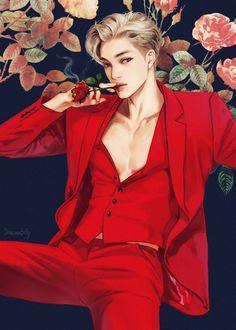 Kai_exo shared by shinn on We Heart It Exo Anime, Chica Anime Manga, Handsome Anime Guys, Hot Anime Guys, Kpop Drawings, Art Drawings, Exo Fanart, L Wallpaper, Exo Kai