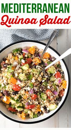 Chunky Mediterranean Quinoa Salad (Video) - A Spicy Perspective Mediterranean Quinoa Salad Recipe: This fresh, chunky, salad is loaded with vegetarian protein and tons of veggie goodness! Great for weekly Meal Prep! Spicy Potato Salad Recipe, Quinoa Salad Recipes, Quinoa Feta Recipe, Meals With Quinoa, Cucumber Quinoa Salad, Mediterranean Quinoa Salad, Mediterranean Diet Recipes, Cooking Recipes, Healthy Recipes
