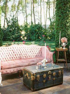 Garden Wedding Reception Lounge Vintage Velvet Sofas