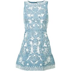 Alice+Olivia embroidered denim dress (€655) ❤ liked on Polyvore featuring dresses, blue, denim dresses, embroidered dress, embroidery dress, alice olivia dress and blue dress