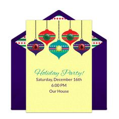 """We are loving this free online invitation design called """"Retro Ornaments,"""" inspired by our friends at My M&M'S®️. It's perfect for a Christmas party! Easily personalize and send to party guests right from your phone — we love it for the DIY host!"""
