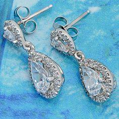 Pear Shape Cubic Zirconia Drop Earring In 14k White Gold