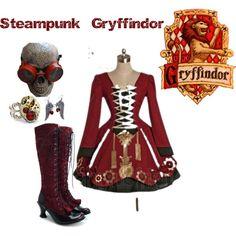Steampunk gryffindor lady like, steampunk cosplay, steampunk clothing, steampunk fashion, steampunk diy Objet Harry Potter, Mode Harry Potter, Harry Potter Dress, Harry Potter Cosplay, Harry Potter Style, Harry Potter Outfits, Lady Like, Nerd Fashion, Fandom Fashion