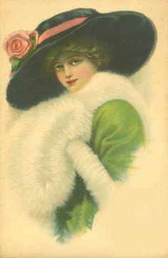 Lady in green. Victorian Hats, Victorian Women, Victorian Pictures, Vintage Pictures, Vintage Ephemera, Vintage Postcards, Vintage Prints, Vintage Art, Vintage Beauty