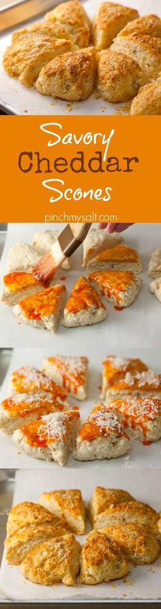 These savory cheddar scones made with buttermilk and brushed with smoked paprika butter are tender, flavorful, and easy to make. Perfect with soup or salad!   pinchmysalt.com