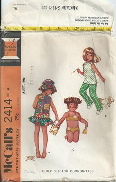 Girls' Swimsuit, Sun Dress, Pants & Top - Size 6 - McCall's Pattern 2414 - 1971 by LouisasNeedle on Etsy