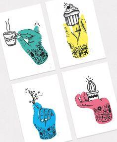 Though Hands Screenprints - Lienke Raben Illustration - Illustration - Sardline Abstract Illustration, Tattoo Illustration, Fashion Illustration Sketches, Graphic Illustration, Easter Illustration, Posca Marker, Rabe, Art Graphique, Design Art