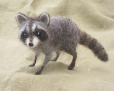 Needle felted raccoon miniature pose-able woodland by Ainigmati