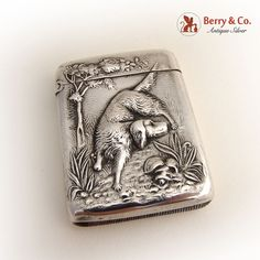 Hunting Dog Match Safe La Pierre 1900 Sterling Silver #LaPierre