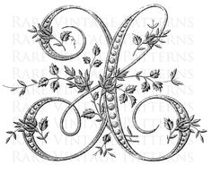 Fancy Antique FRENCH FLORAL ALPHABET STENCIL Large Letter - X - We also have the rest of this Fancy Alphabet available in our Store Vintage Hand Embroidery Pattern ***========================*** Are you looking for something Special for your project just convo me and I will see what I can do for you. ***========================*** This vintage image has been scanned directly from my collection. Every image I sell has been digitally cleaned, altered and adjusted by me. 2 x Printable d... Embroidery Monogram, Embroidery Patterns, Hand Embroidery, Embroidery Fonts, Script Alphabet, Alphabet Stencils, Monogram Initials, Monogram Letters, French Alphabet