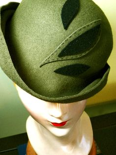 Olive Top-Stitched Leaf Wool Cloche Style Hat, by Baubles & Whatnots, SOLD