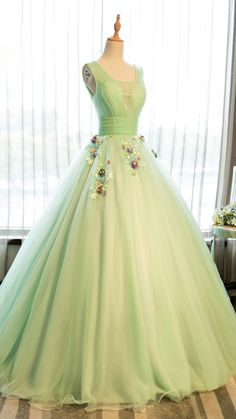 Beautiful light green tulle long prom dress for teens