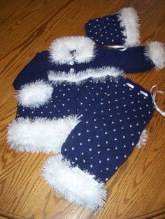 New Hand Knit Snowflake Set for the Winter Baby by hookinontheside, $50.00