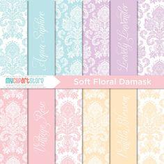 Digital Paper  Damask Soft Floral  Instant by MyClipArtStore, $3.00