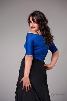 Natural Spin Signature Dance Tops(Short Sleeve):  LT06_BLUE