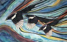 3 in flight Kingfisher, Magpie, Bird Art, Penguins, Pastel, Watercolor, Drawings, Art Ideas, Painting